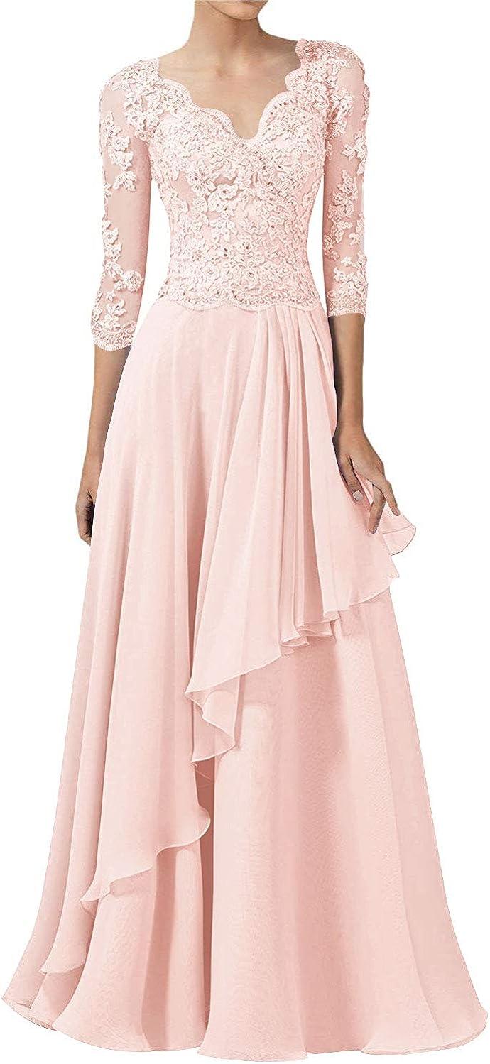 Abendkleider Spitzen Lang Ballkleider Hochzeitskleid A-Linie Brautjungfernkleider 3//4/Ärmel Elegant Brautmutterkleider Festkleider