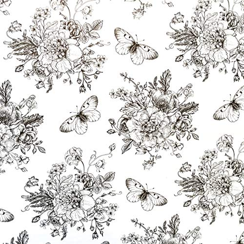 TaoGift Self Adhesive Peony Floral Butterfly Shelf Liner Contact Paper for Dresser Cabinets Walls Backsplash Furniture Decal 177x117 Inches