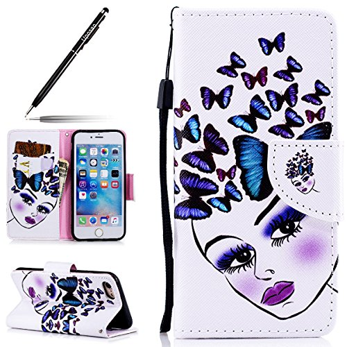 Uposao Etui iPhone 7/8 Coque Cuir Portefeuille PU Premium Housse à Rabat Case, iPhone 7/8 Flip Cover Cordon Portable Stand Support Magnétique 3D Effet Motif iPhone 7/8,Fille Papillon