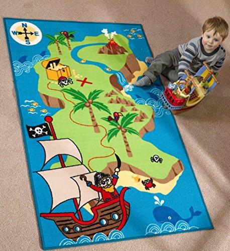 Lord of Rugs - Tappeto multicolore per bambini, con mappa e nave dei pirati, 100 x 160 cm