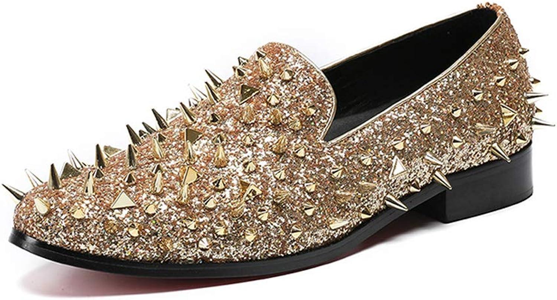 DANDANJIE Men's shoes Fashion Casual Oxfords Studs Unique Novelty shoes