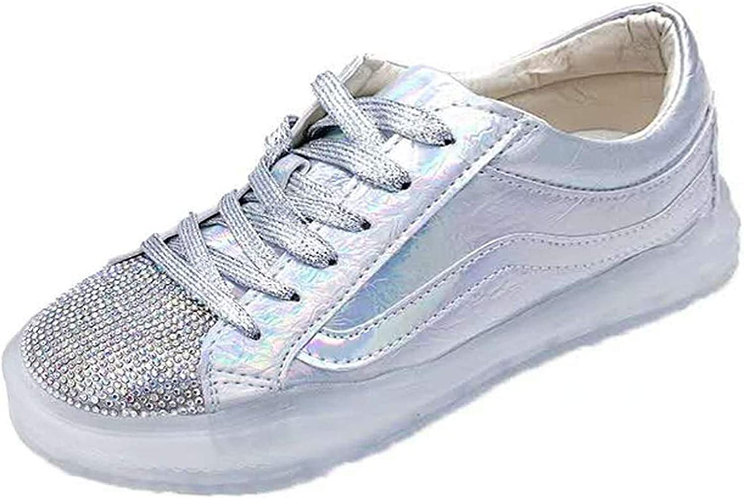 I Need-You 2019 New Ladies Spring Summer shoes Shiny Flat Form Casual Sneaker for Women Students,Silver,6