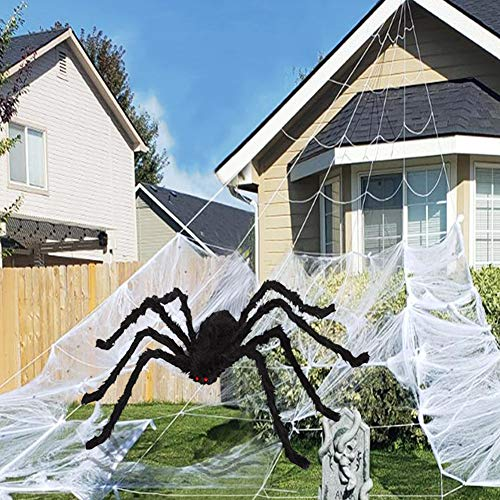 Halloween Decorations, 16 feet Giant Dense Spider Web Super Stretch Cobweb Set with 35.4 Inches Giant Spider, Halloween…