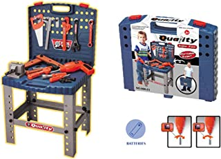 Toysery Kids Workbench Toy Tool Set - Portable or Stand-up Realistic Tool Kit and Workbench Educational Pretend Role Play Set - Best Gifts for Toddlers, Children, Kids, Boys & Girls