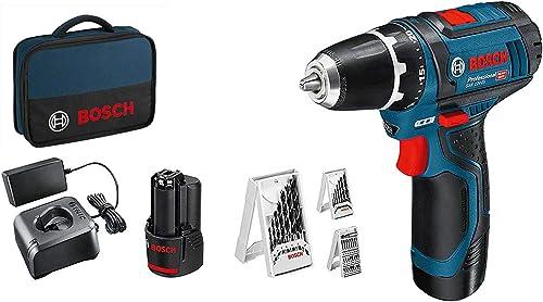 Bosch Professional 12 V System Atornillador GSR 12 V-15, Incluye 2 x 2.0 Batería y Cargador, 39 pcs, Juego de Accesor...