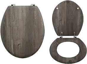 "MSV WC-bril wc-deksel MDF houten kern ""Blue Ridge"" scharnieren van roestvrij staal - hoogwaardige en stabiele kwaliteit"
