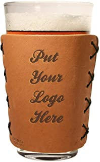 Custom Designed Leather Pint Glass Sleeve: You choose the design