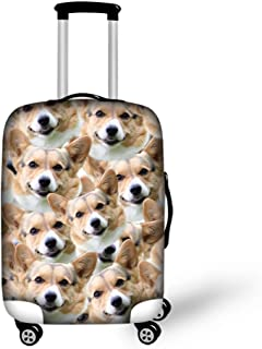 Lovely Corgi Dog Print Washable Foldable Luggage Cover Protector Fits 18-21 Inch Suitcase Covers