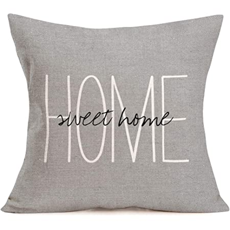 Aremazing Cotton Linen Throw Pillow Case Cushion Cover Home Office Decorative 18 X 18 Inches Inspirational Warm Quotes Home Sweet Home Lettering Pillow Sham Gray Home Kitchen