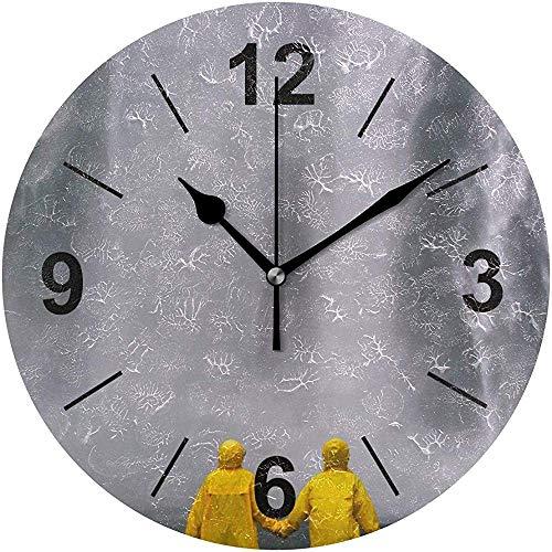 L.Fenn Wandklok, rond paar handjes houders, regenjas, diameter Silent, decoratief voor thuis, kantoor, keuken, saindroom