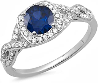 14K Gold Blue Sapphire & White Diamond Swirl Split Shank Halo Engagement Ring