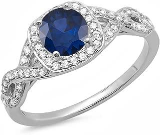 Dazzlingrock Collection 14K Gold Blue Sapphire & White Diamond Swirl Split Shank Halo Engagement Ring