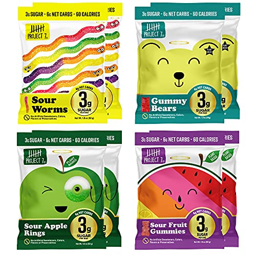 Project 7 Low Sugar Variety Pack (8 pack) – Keto-Friendly & Vegan Gummies With 3g Sugar & 6g Net Carbs – Low Calorie Snacks (60) – No Sugar Alcohols, No Artificial Sweeteners or Colors