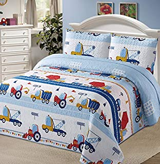 Luxury Home Collection 3 Piece Full/Queen Size Quilt Coverlet Bedspread Bedding Set for Kids Boys Construction Trucks Tractors Cars Blue Red White Yellow