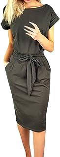 Ajpguot Verano Mujer Midi Vestidos Color Sólido Vestido de Cadera Cuello Redondo Manga Corta Vestido con Cinturón Elegante Bodycon Vestidos de Fiesta