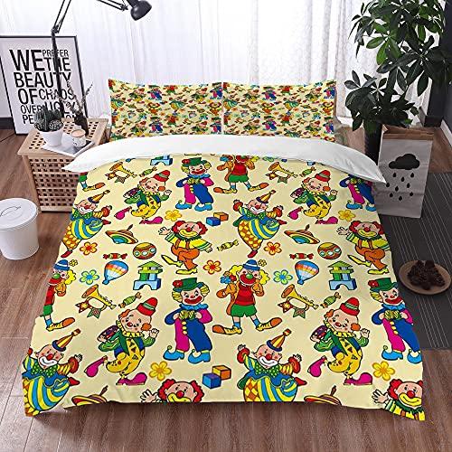 Qinniii Duvet Cover Bedding Sets,Cartoon Circo Clown Pattern,3-Piece...