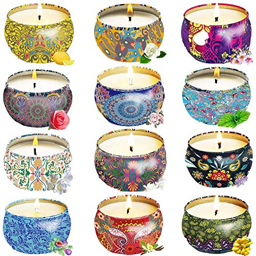 Gift Package Scented Candles Lemon, Fig, Lavender, Spring Fresh,Rose ,Jasmine,Vanilla,Bergamot,Strawberry, Peppermint, Rosemary, Gardenia Natural Soy Wax Portable Travel Tin Candle,Set of 12