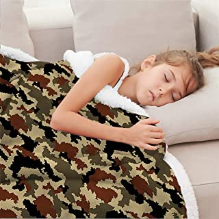 Zara Henry Camouflage Plush Blanket, Pixel Art Abstract Dog Blanket Christmas Deer Decor