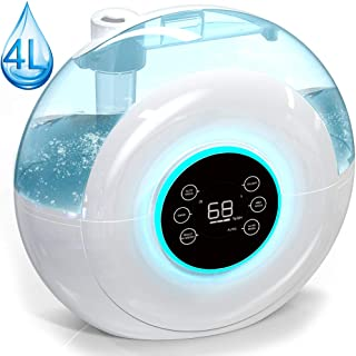 Cool Mist Ultrasonic Digital Humidifier with 4 L/1.05 Gallon Large Capacity, Timer, Quiet Operation, Filter-Free, 3 Mist Modes, Humidity Sensor, Sleep and Auto Mode, for Bedroom Babyroom Home