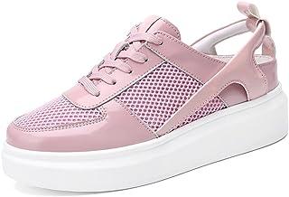 HWF レディースシューズ 春の女性通気性のスポーツ靴メッシュフラットプラットフォームカジュアルな女性の靴 ( 色 : ピンク ぴんく , サイズ さいず : 35 )