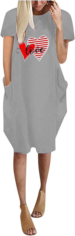 Love Short Sleeve Nightgown Sleep Dress for Women Sleepwear Summer Solid Color Round Neck Long Dress Shirt Plus Size