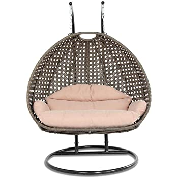 Island Gale Luxury 2 Person Outdoor, Patio, Hanging Wicker Swing Chair ((2 Person) X-Large-Plus, Latte Rattan/Latte Cushion)