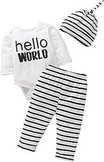 Rebron Bebes Reci/én Nacidos Ni/ños Conjunto de Trajes de Beb/é de 0-2 A/ños. Negro Camiseta Algod/ón Imprimiendo Cartas Frecoccialo Conjuntos Beb/é Ni/ño Verano Blanco Pantalones Cortes Rayas