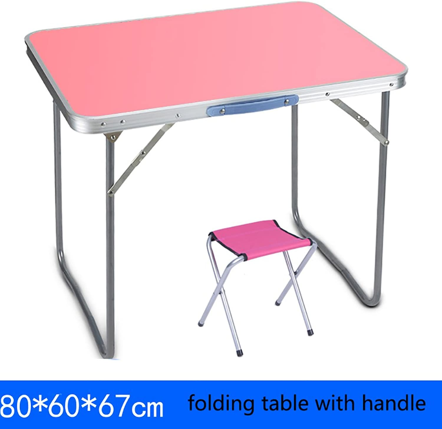 Folding Table Table Outdoor Square Folding Table and Chairs with Handles Camping Small Wooden Folding Dining Table Computer Desk (color   Table+1 stools, Size   80  60  67cm)