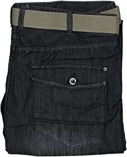 Kam Mens Big King Size Jeans Relaxed FIT in Black Hurricane Colour Free Belt