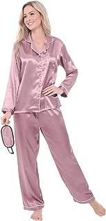 Alexander Del Rossa Women's Button Down Satin Pajama Set with Sleep Mask, Long Silky Pjs