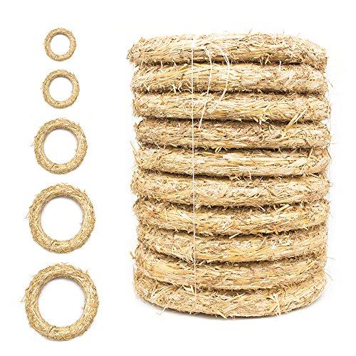 DekoPrinz® Strohkränze 10 Stück | ø 20 cm Durchmesser | 3 cm Stärke | Strohrömer, Türkranz, Deko-Kranz, Kranz-Rohling, Strohring