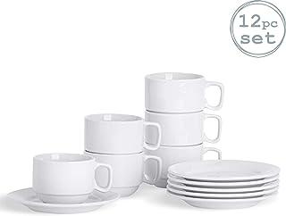 Argon Tableware Juego de Tazas y platillos Blancos apilables