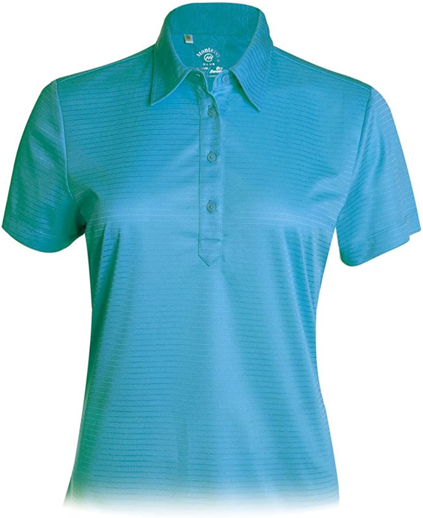 Monterey Club Directly managed store Atlanta Mall Women's Blade Texture #2290 Solid Polo Shirt