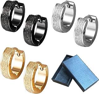Xihuimay 3 Pairs Titanium Steel Earrings Clip on Dangle Hooks Earrings Set Hinged Hoop Earrings Huggies Matte Earrings Car...