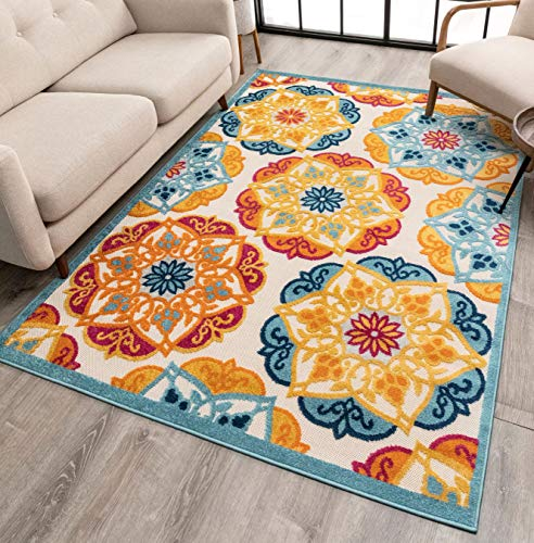 Well Woven Francesca Bright Multicolor Indoor Outdoor Medallion Floral Pattern Area Rug 5x7 (5 3  x 7 3 )