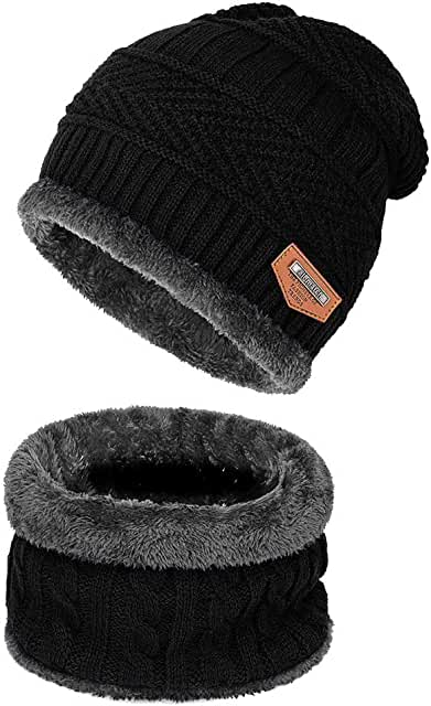 Warm Winter Beanie Hat & Scarf Set Stylish Knit Skull Cap for Men Women