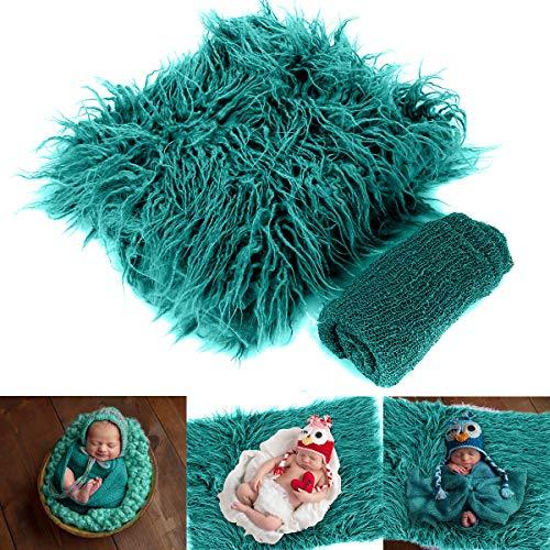 DaMohony - 2Pcs Manta Bebés Fotografía Accesorios Envoltura de Ondulación para Recién Nacidos Mantas Foto Bebé Edredón Tapete Regalo 30x40cm Verde