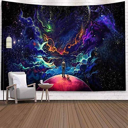 Fantasía psicodélico bosque montaña sol tapiz colgante de pared hippie revestimiento de pared tapiz de fondo tapiz decorativo A4 100x150cm