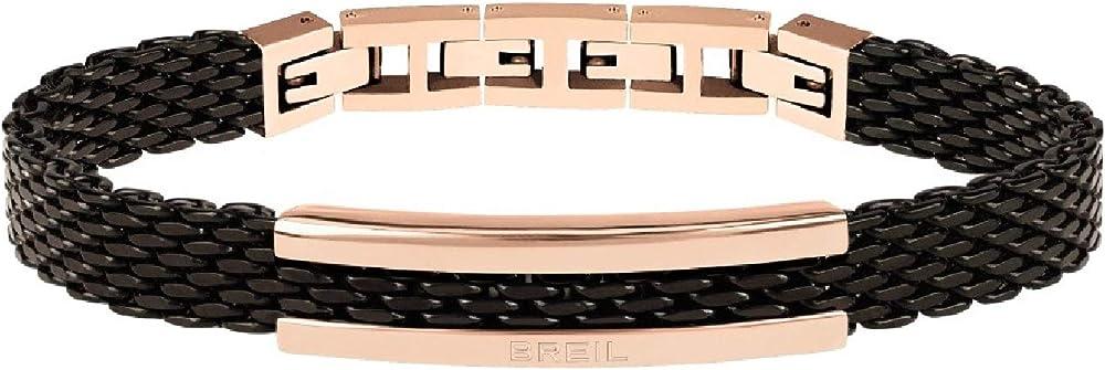 Breil bracciale uomo in acciaio nero e placchetta in acciaio rosè TJ2743