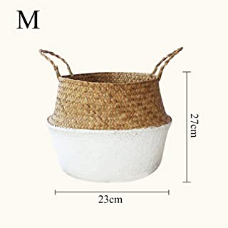 Samber Home Storage Organisation, Hand-Woven Foldable Plant Flower Pot Natural Seagrass Woven Basket Toy Storage Basket Wovening Laundry Basket Foldable Handcraft Weave Belly Basket with Handle(B/M)