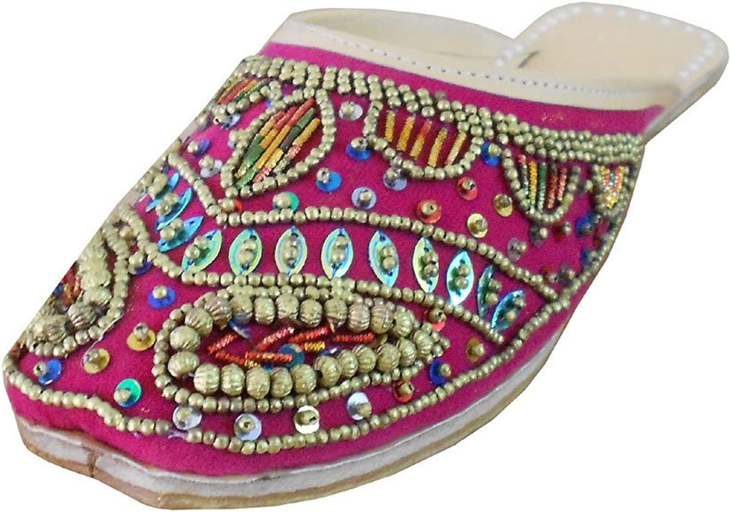 Kalra Creations Women's Traditional Indian Velvet with Sequence Work Ethnic Slippers
