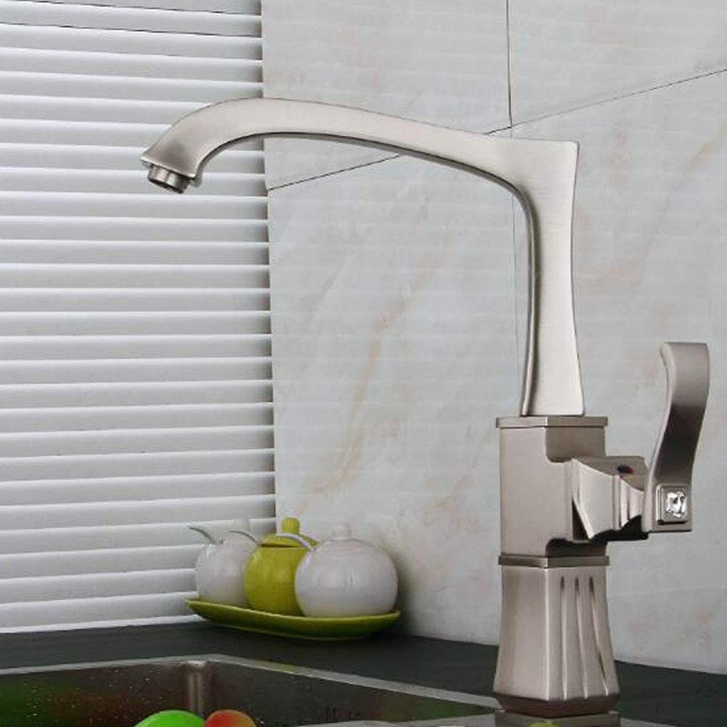 MMBFBS 360°Swivel Kitchen Mixer Tap all Brass Brushed Diamond Hot and Cold Sink Faucet,MetallicFaucet