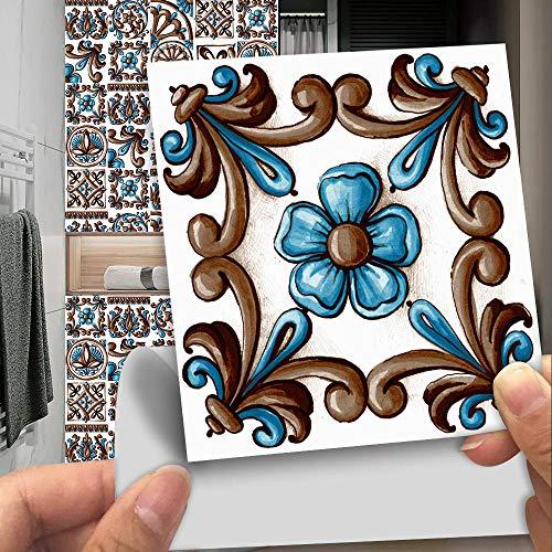 Pegatinas para azulejos Adhesivos para azulejos estilo mosaico Calcomanías resistentes al agua y aceite Autoadhesivas de PVC- Arte de decoración de pared(Patrón H 20CM X 20CM X 10PCS)