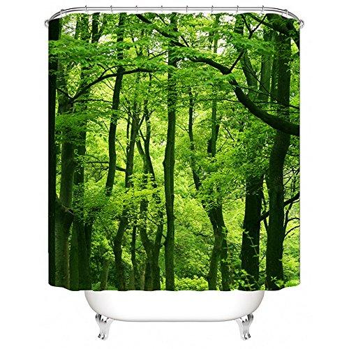 laamei 1Pc Cortina de Ducha 3D Digital Impresión Paisaje Zen Impermeable Antimoho Cortina de Bañera de baño con Ganchos(180x200cm) (Verde, 180cmx200cm)