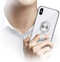 Cell Phone Grip,Universal Finger Strap Loop with Stand for Smart Phones,Support Magnetic Car Mount & Wireless Charging(Silver)