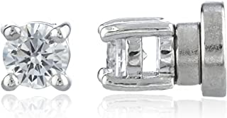 New & Improved! Silvertone with Clear Cz Round Magnetic Stud Earrings - 4mm to 12mm Available