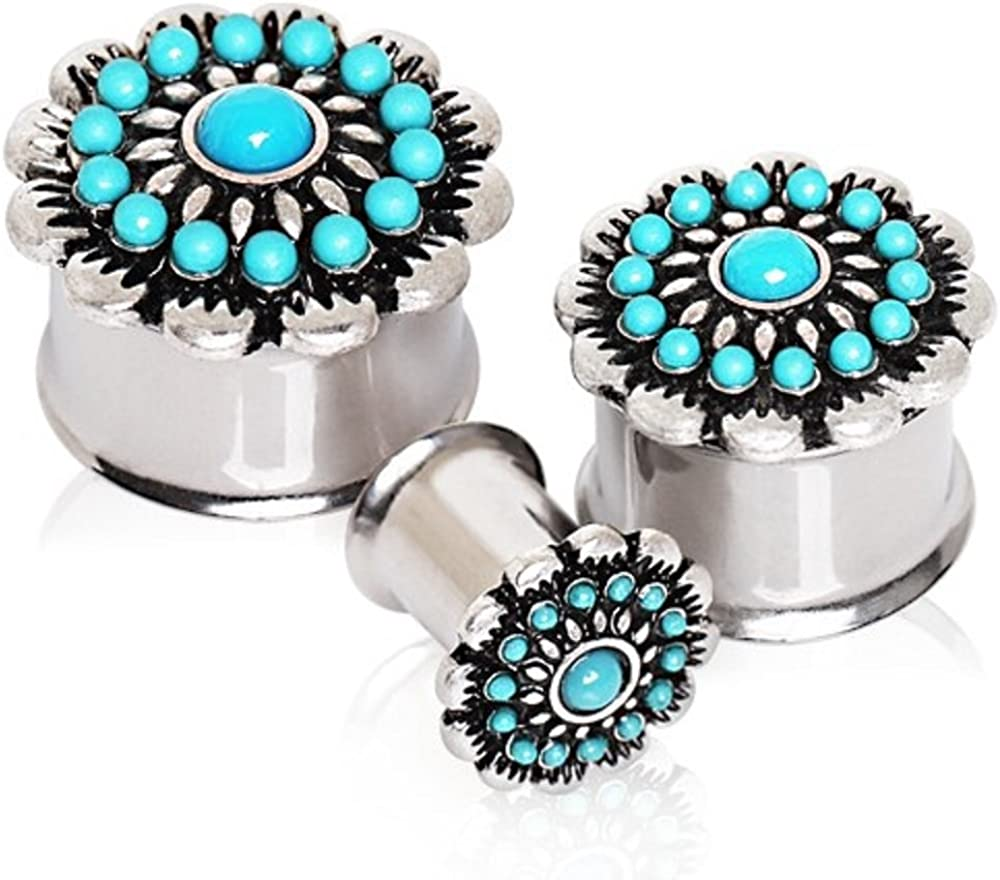Covet Jewelry 316L Stainless Steel Antique Turquoise Flower Double Flare Plug