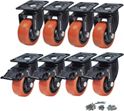 CoolYeah 3 inch Swivel Plate PVC Caster Wheels, Industrial, Premium Heavy Duty Casters (Pack of 8, 4 with Brake & 4 Without)
