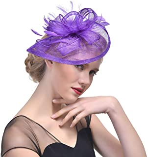 YiyiLai Hemp Yarn Banquet Wedding Tea Party Fascinator Hair Clip Headband
