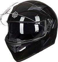 Auboa DOT Full Face Motorcycle Helmet with 2 Visors, Modular Snowmobile Helmet for Adults (Glossy Black, M)